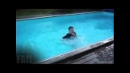 Опит за задно салто в басейн , неуспешен :д