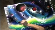 Champagne Supernova by Matt Sorensen spray paint art, space art