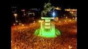 Plostad Skopje Makedonija slavi pobeda nad Litvanija 67:65