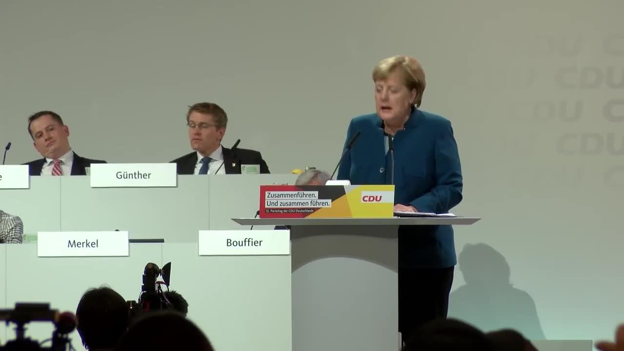 Поледната реч на Меркел като председател на ХДС