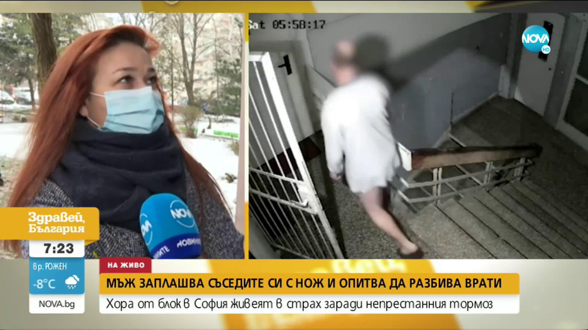Полугол мъж заплашва с ножове и отвертки съседите си