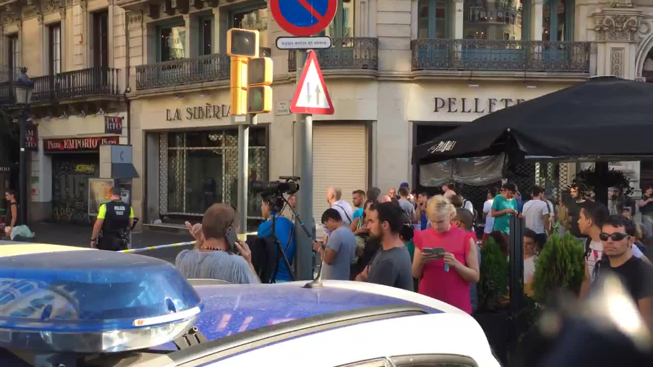 Spain: Police block off area near La Rambla, after vehicle drives into crowd, injuring several
