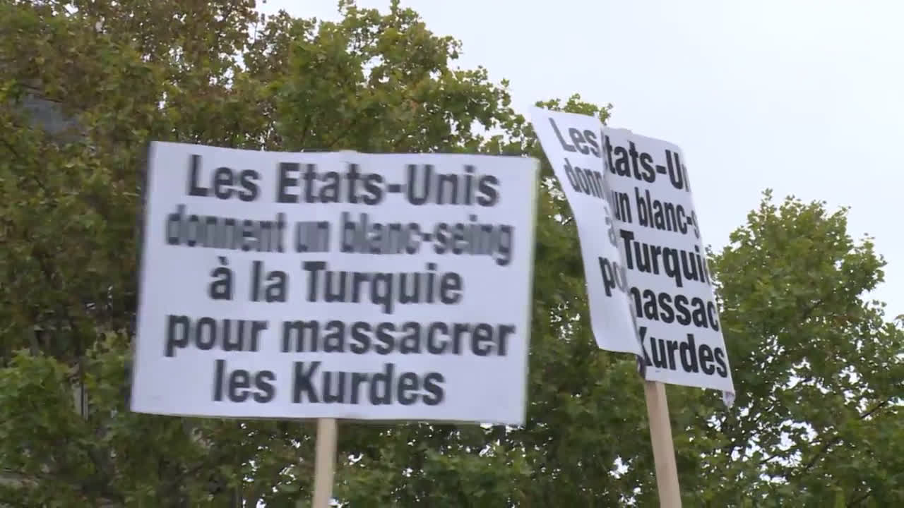 France: Kurdish community in Paris protest Turkish incursion into Syria