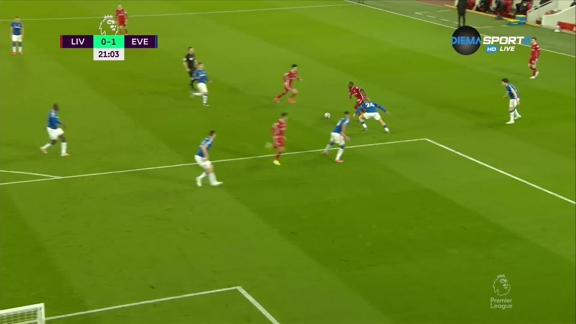 Ливърпул - Евертън 0:1 /първо полувреме/