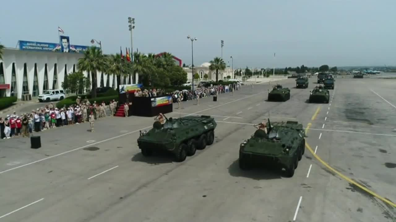 Syria: Drone shows Victory Day parade at Hmeymim Airbase