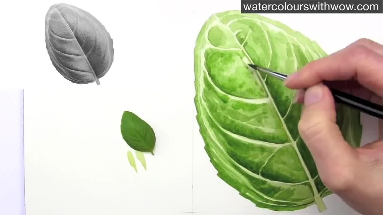 Как да нарисуваме листо с 3 D ефект използвайки акварел /урок от Anna Mason/