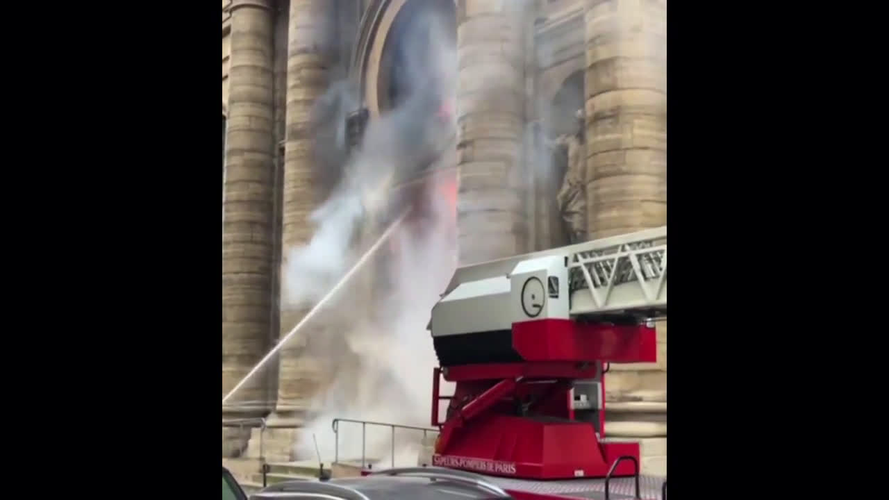 France: Paris\' historic Church of Saint-Sulpice engulfed in flames