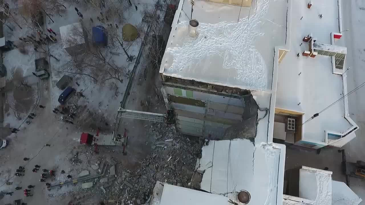 Russia: Drone captures full scale of Magnitogorsk building collapse
