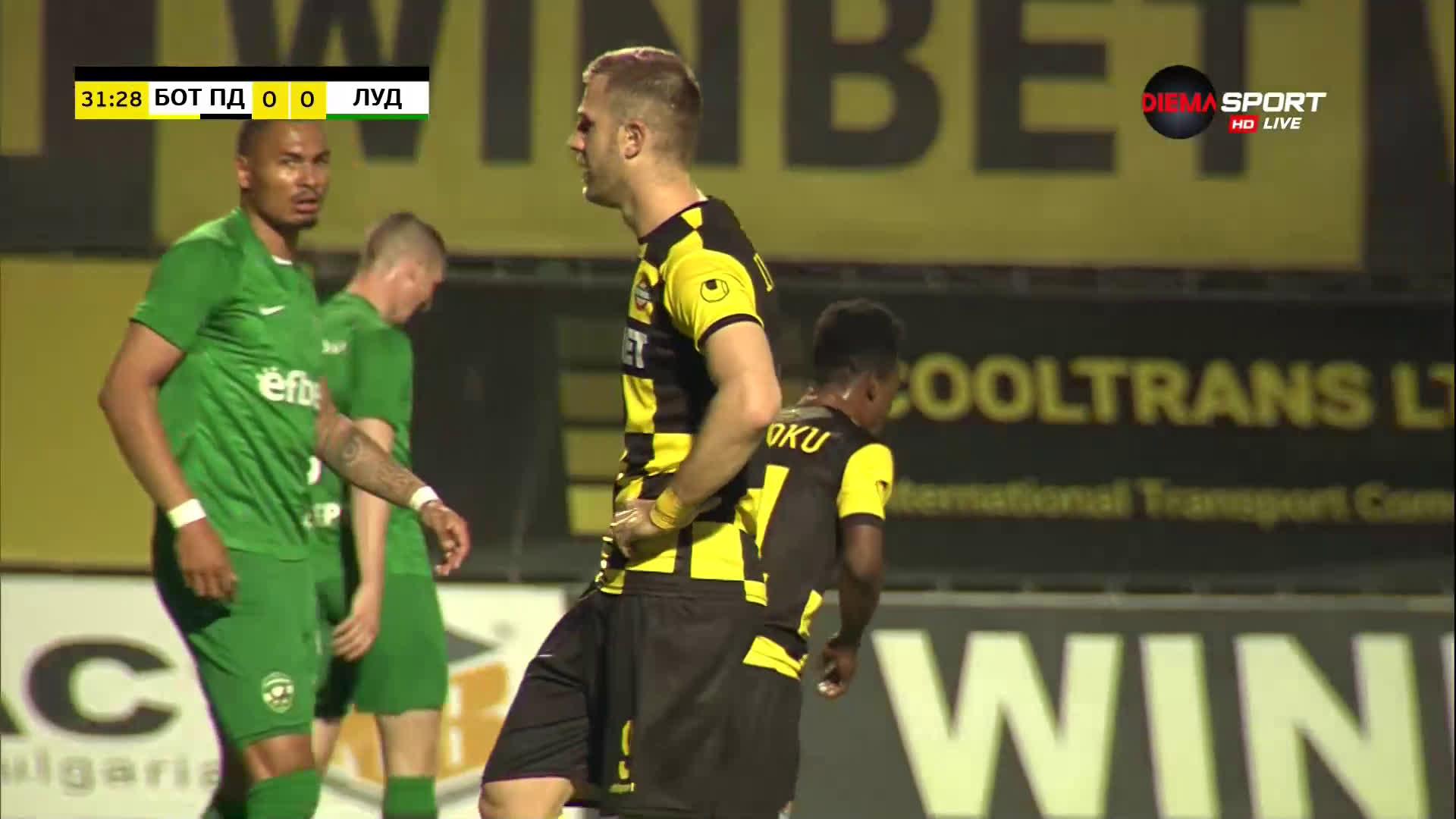 Ботев Пловдив - Лудогорец 0:0 /първо полувреме/