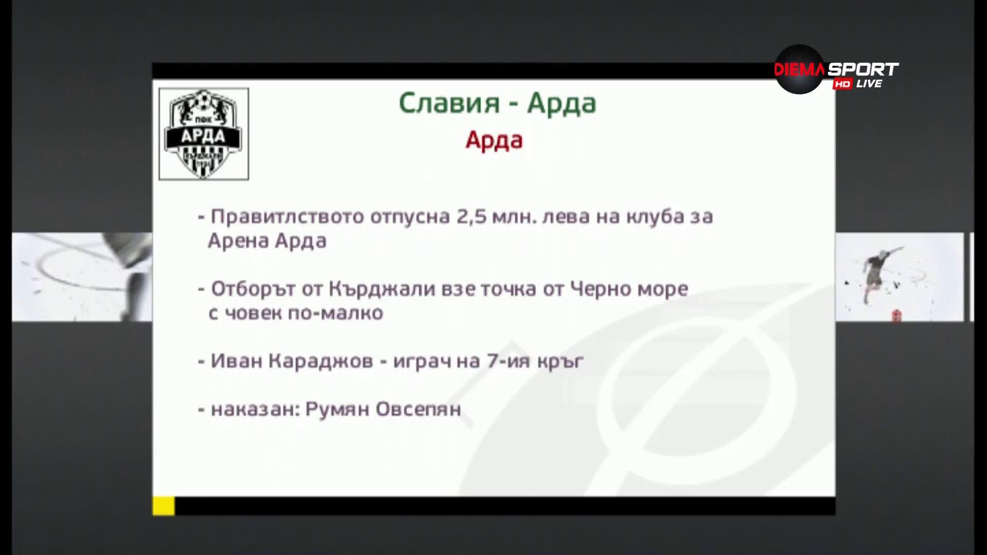 Славия ще търси победа над Арда
