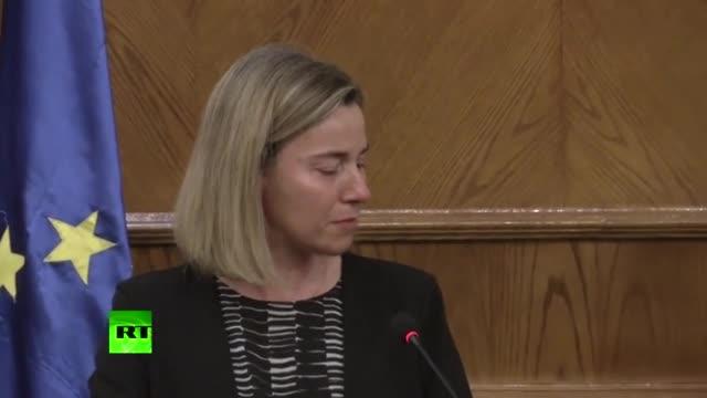 Могерини се разплака на пресконференция след атаките в Брюксел