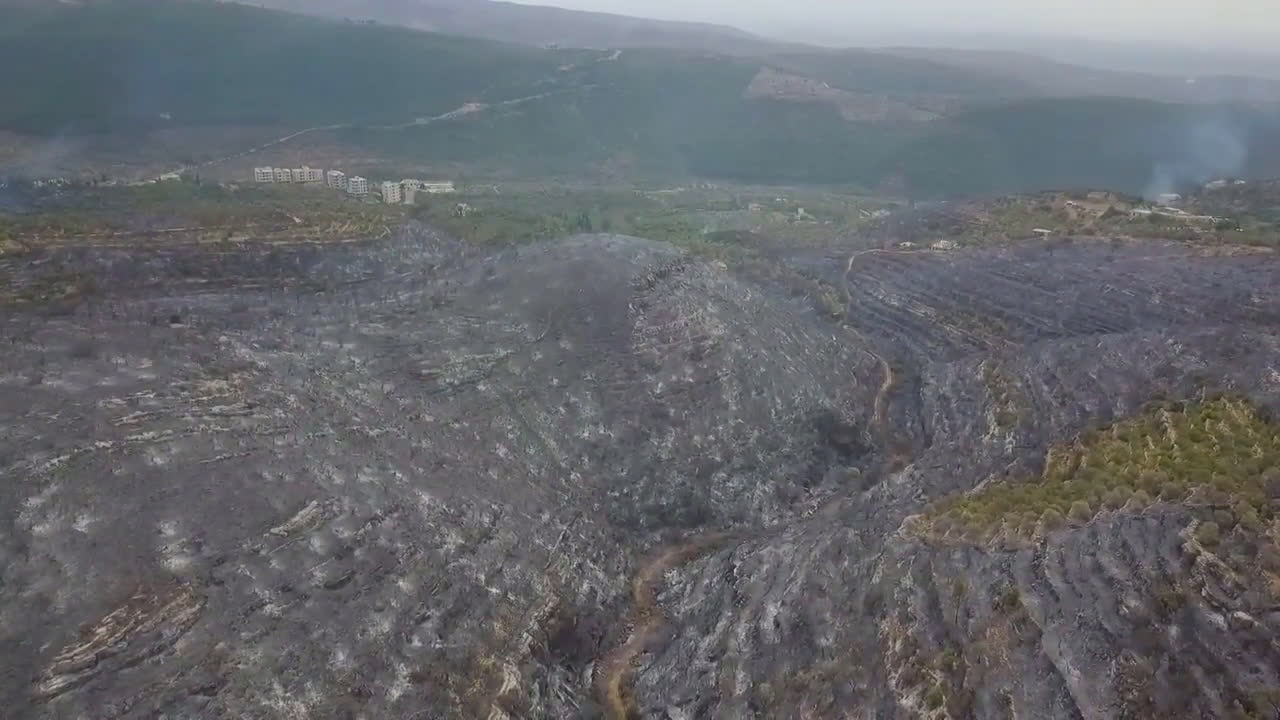 Syria: Drone footage captures aftermath of wildfires near Homs