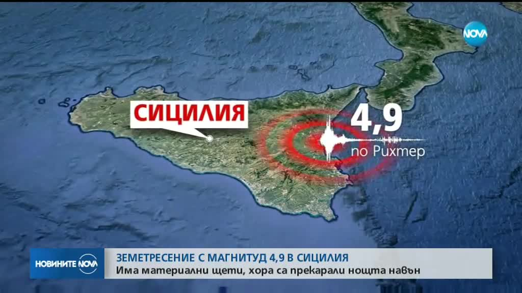 4,9 по Рихтер разлюля Сицилия