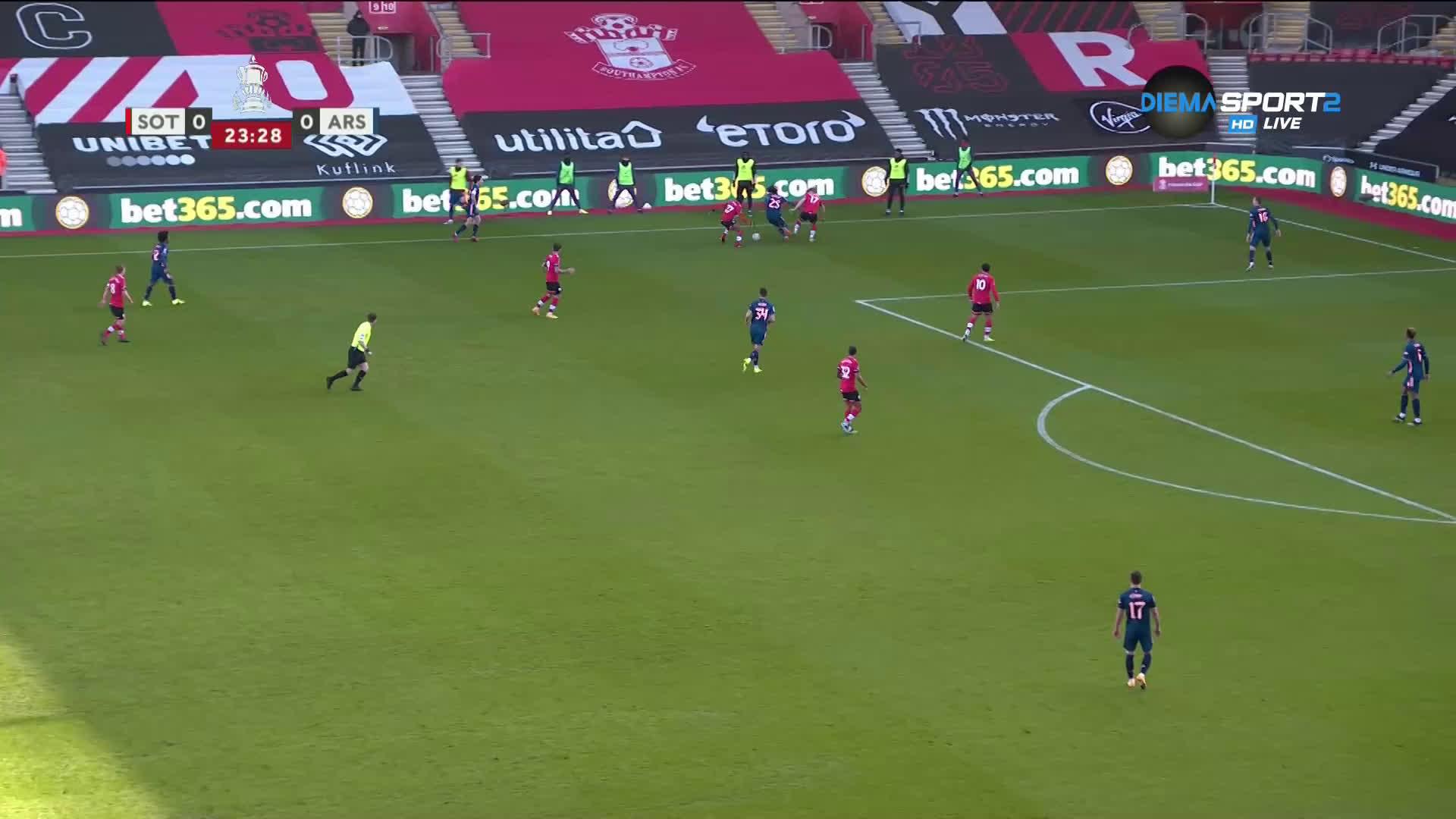 Саутхямптън - Арсенал 1:0 /първо полувреме/