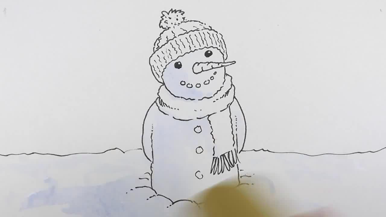 Коледна картичка с акварел-снежен човек (2)