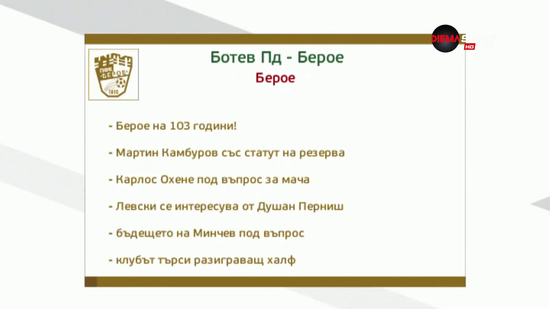 Преди Берое - Ботев