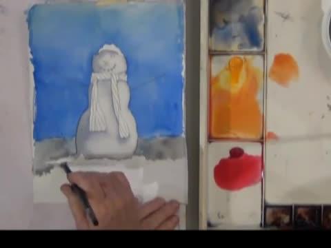 Коледна картичка с акварел- снежен човек
