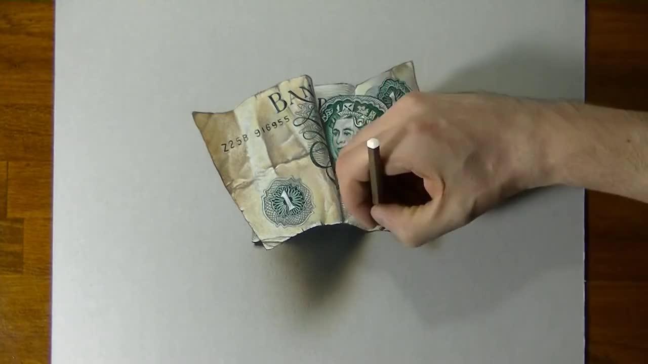 3d рисунка на стара банкнота
