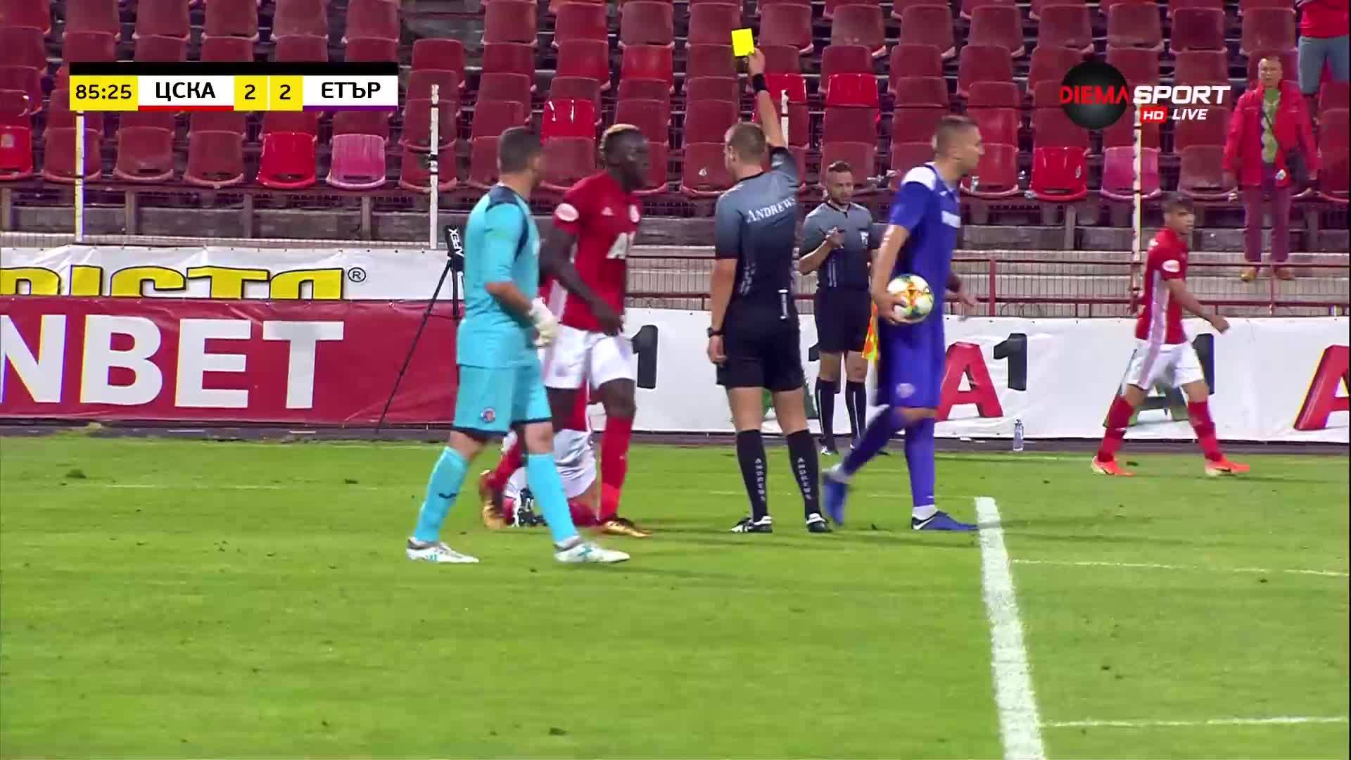 Претенции за дузпа от ЦСКА, жълт картон за Пинто за симулация