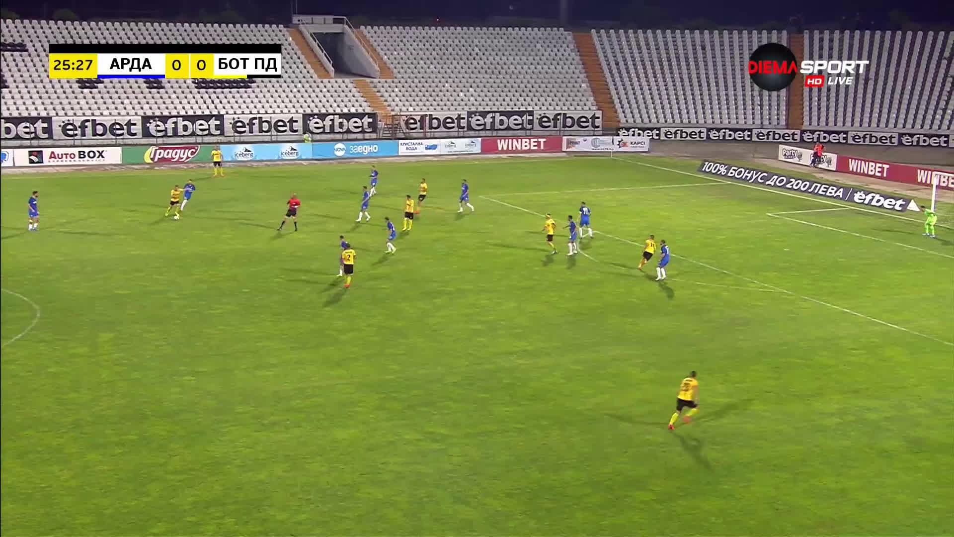 Арда - Ботев Пловдив 0:0 /първо полувреме/