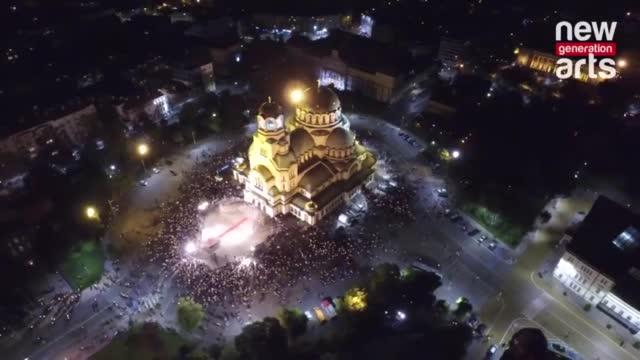 """Храм-паметникът """"Александър Невски"""" отвисоко на"""