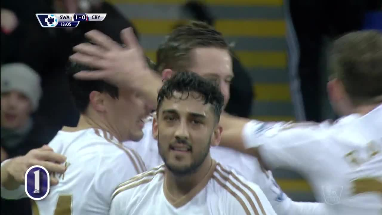 Гилфи Сигурдсон за 1:0 за Суонси срещу Кристъл Палас