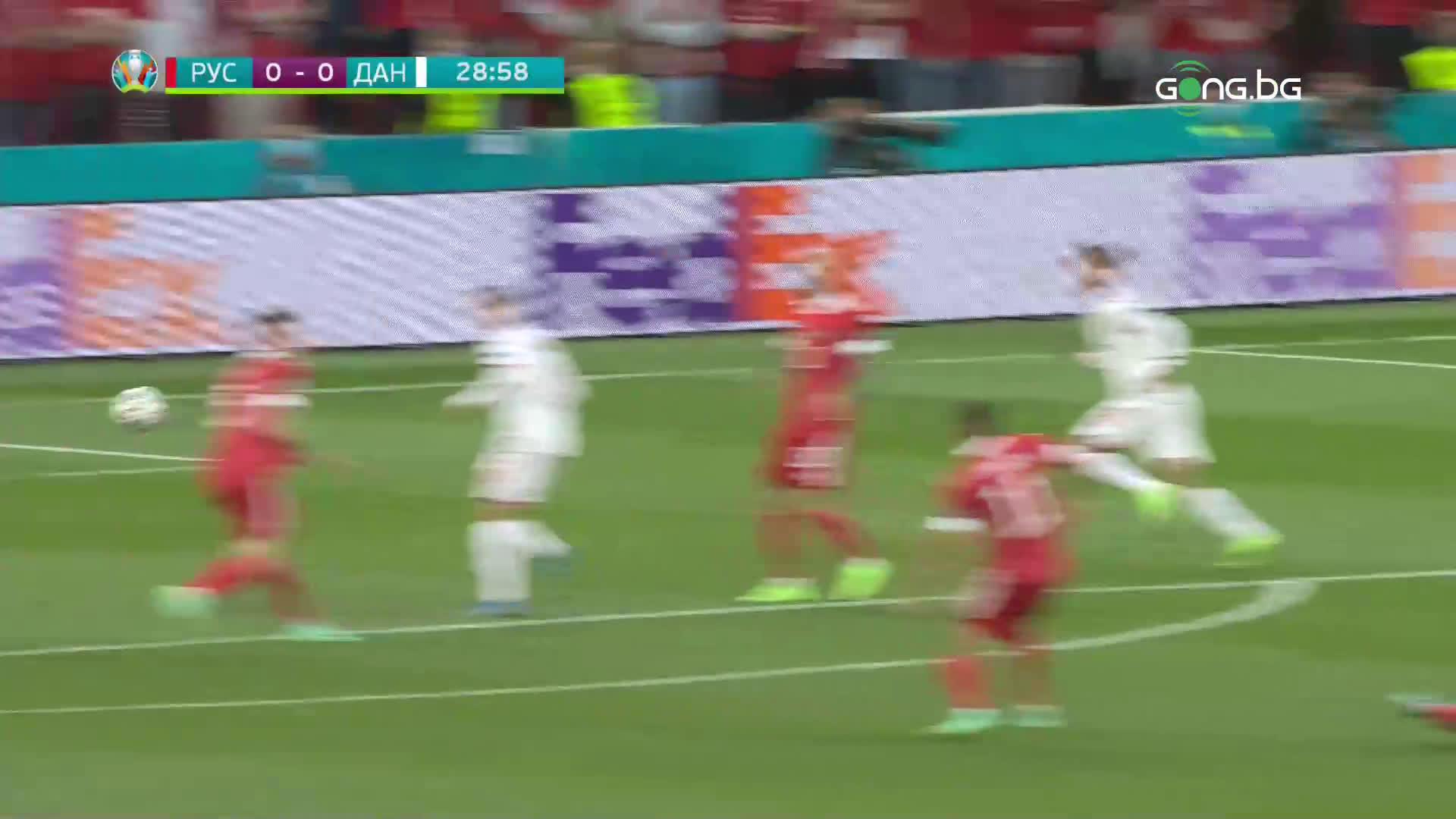 Русия - Дания 0:1 /първо полувреме/
