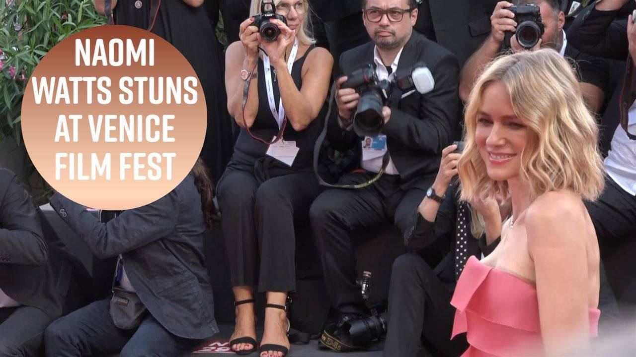 Naomi Watts wears gown covered in Post-Its in Venice