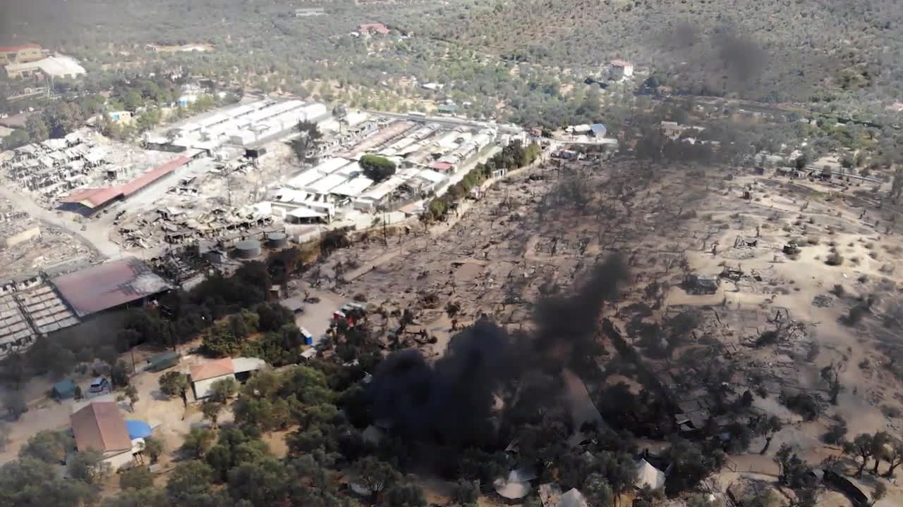 Greece: Drone footage captures new fire at Moria refugee camp