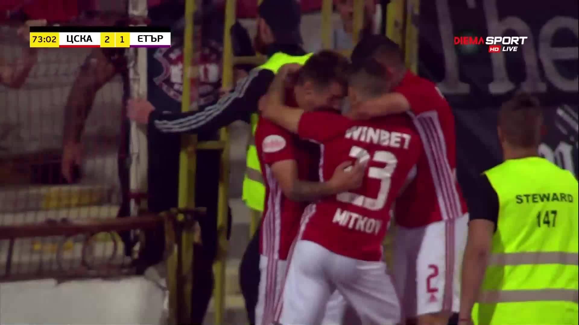 ЦСКА отново поведе на Етър с уникален гол на 18-годишен