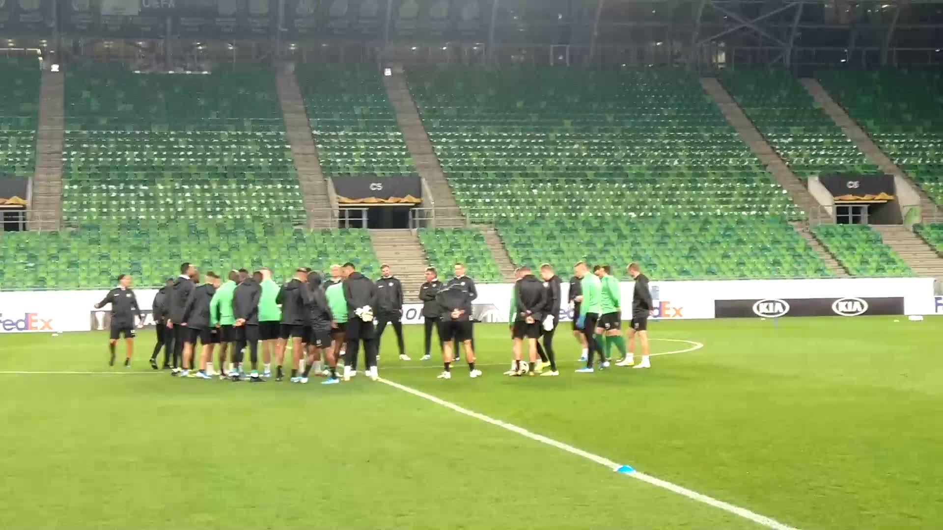 Тренировка на Лудогорец преди мача срещу Ференцварош