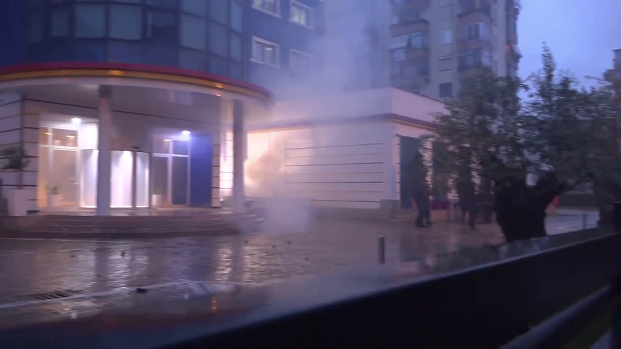 Albania: Firebombs and fireworks fly as anti-government protests continue through the rain