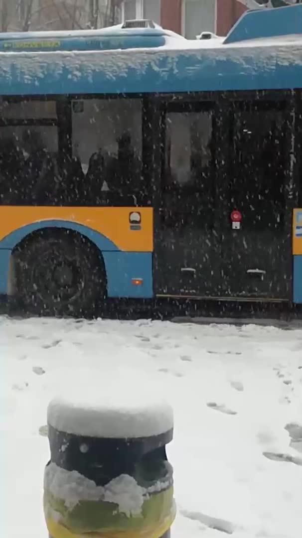 Снегът затрудни градския транспорт