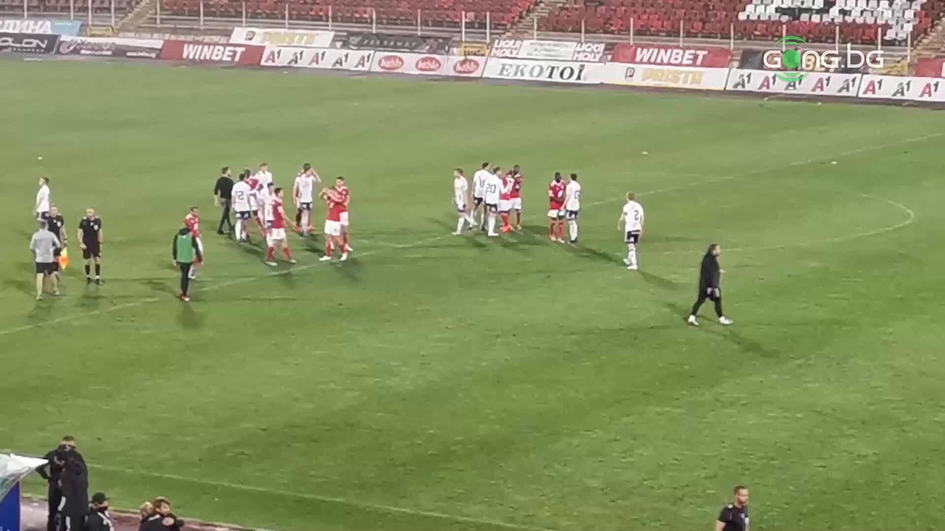 Поздравления и радост в ЦСКА след последния съдийски сигнал