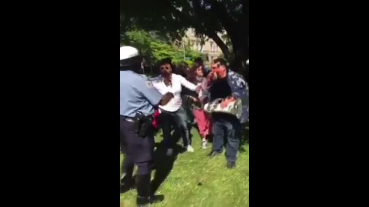 USA: Fights break out between Ergodan supporters and protesters in Washington DC