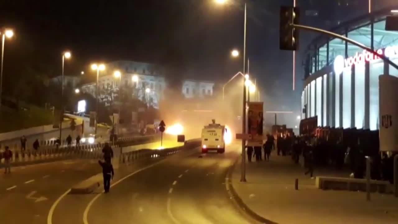 Turkey: Chaos outside Besiktas' Vodafone Arena as twin blasts rock Istanbul