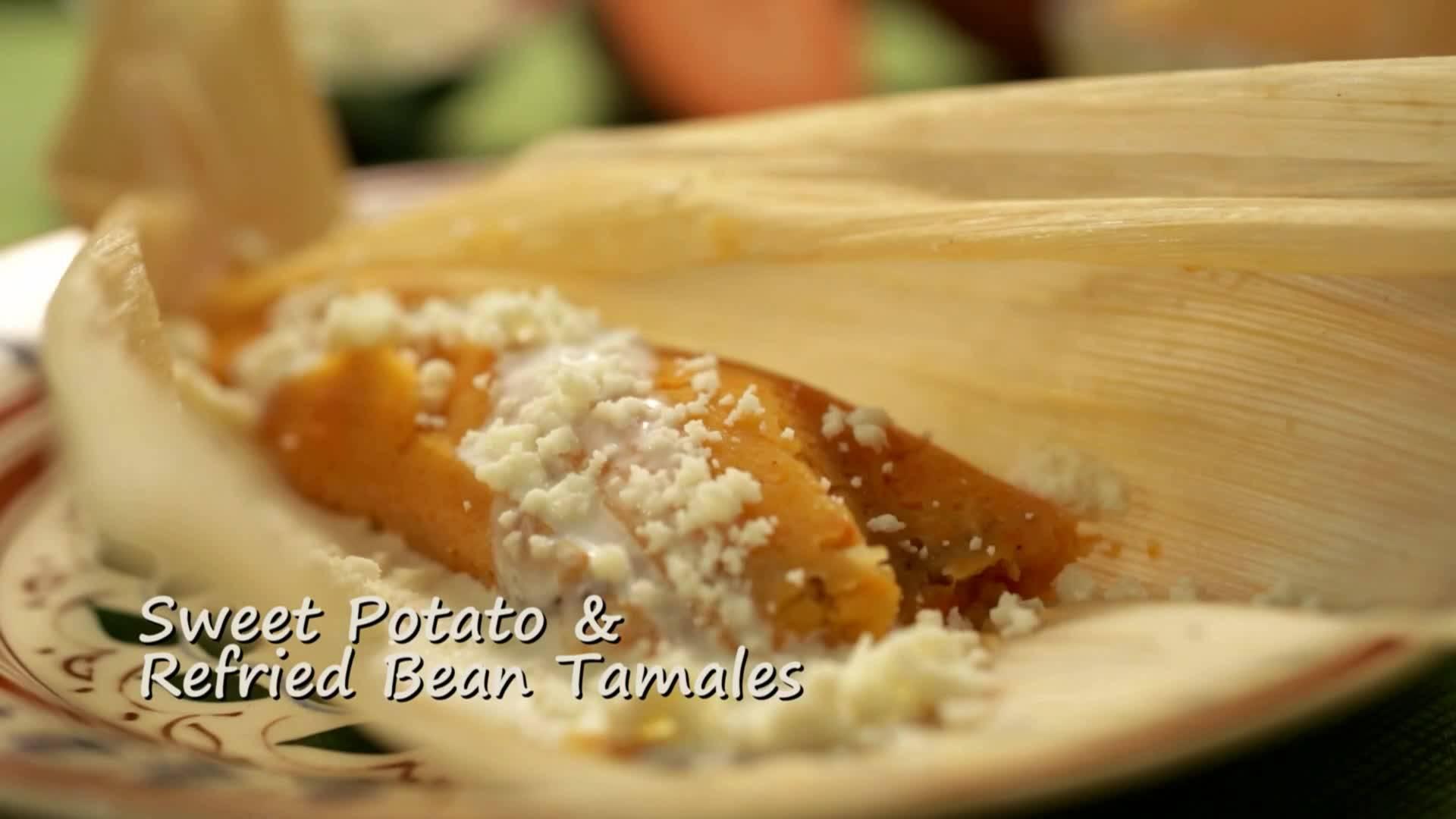 Тамале със сладки картофи и черен боб