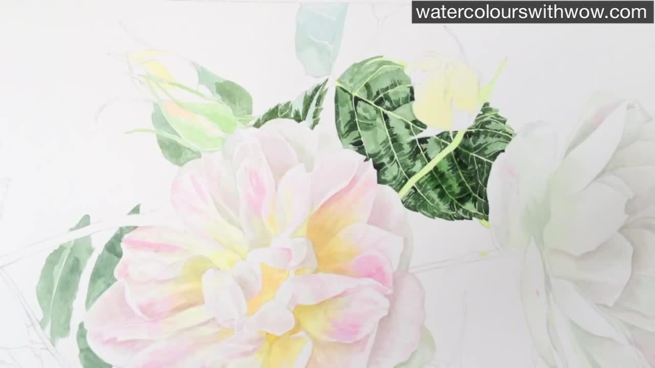 Как да нарисуваме листо на роза с 3 D ефект използвайки акварел /урок от Anna Mason/
