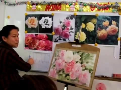 Как се рисуват рози-демонстрация от Adisorn Pornsirikarn (акварел) част 5/5