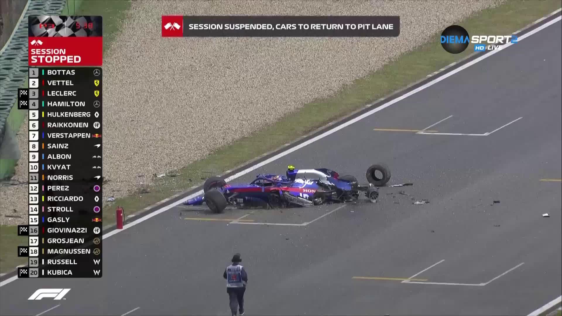 Много тежка катастрофа преди квалификацията за Гран при на Китай