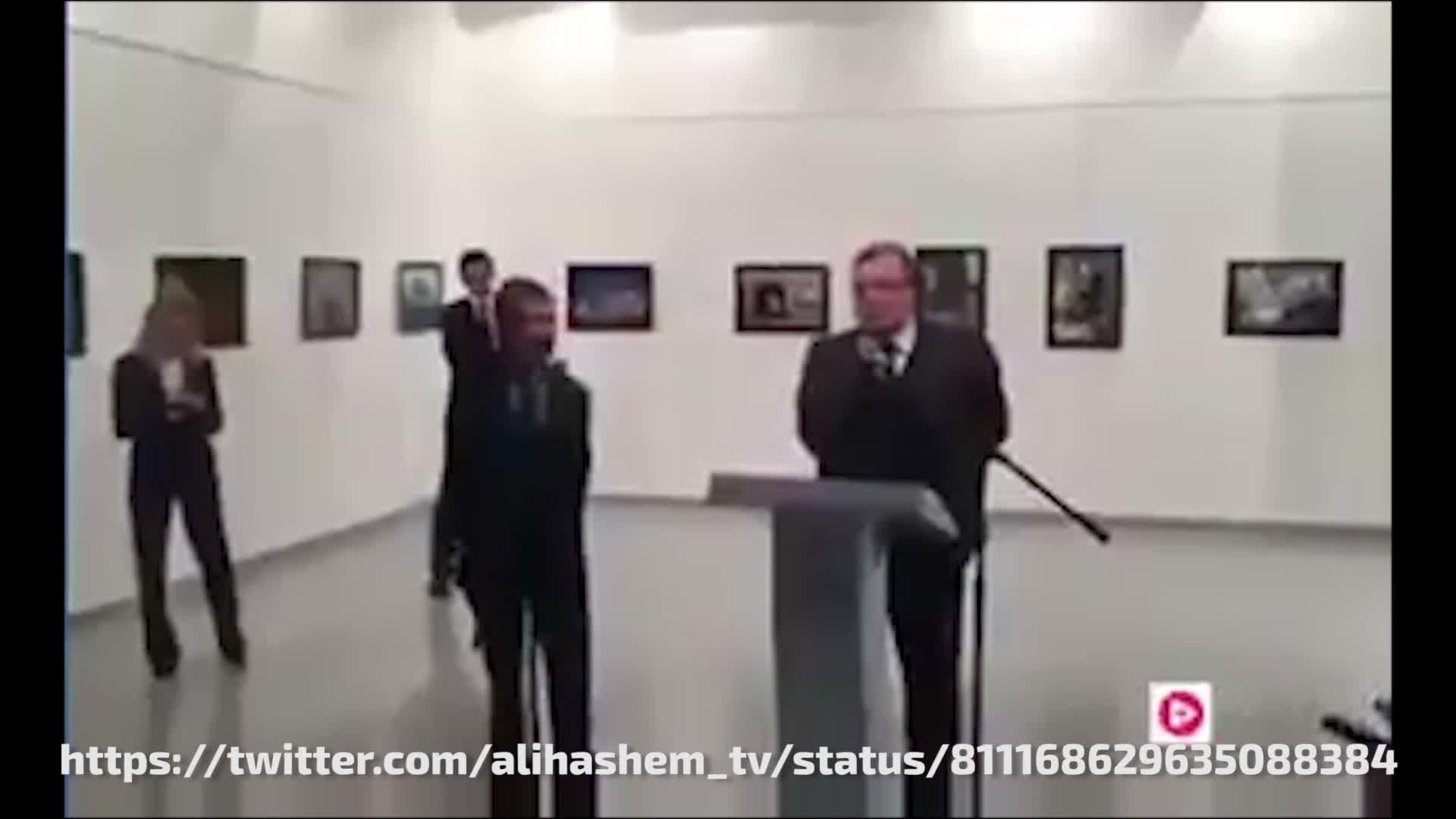 Ексклузивни кадри на убиеца на руския посланик в Турция Андрей Карлов