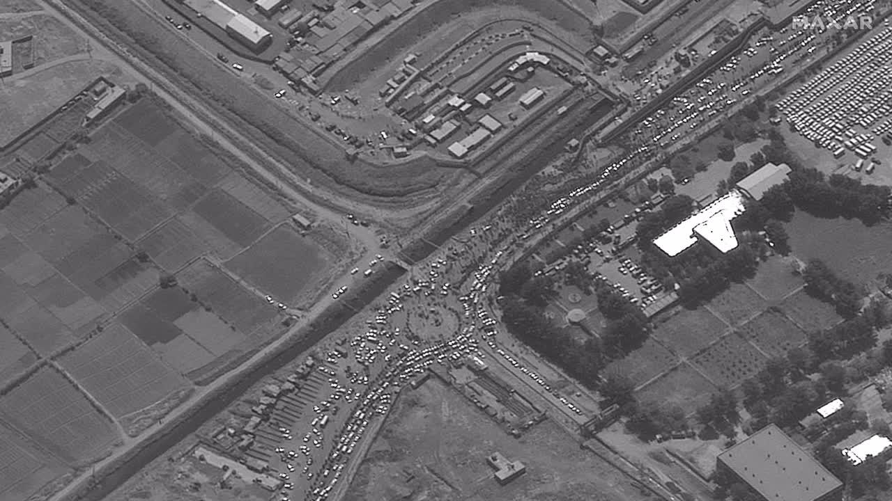 Afghanistan: Satellite images show massive traffic jam outside Kabul's airport *STILLS*