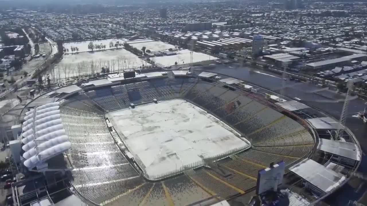 Chile: Drone captures white blanket of snow covering Santiago for the first time in 20 years