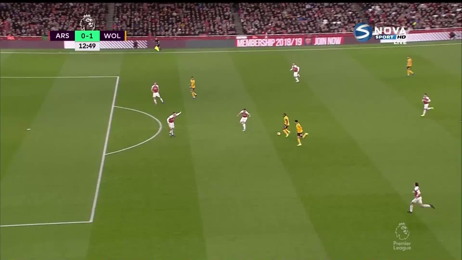 Арсенал - Уулвърхемптън 0:1 /първо полувреме/