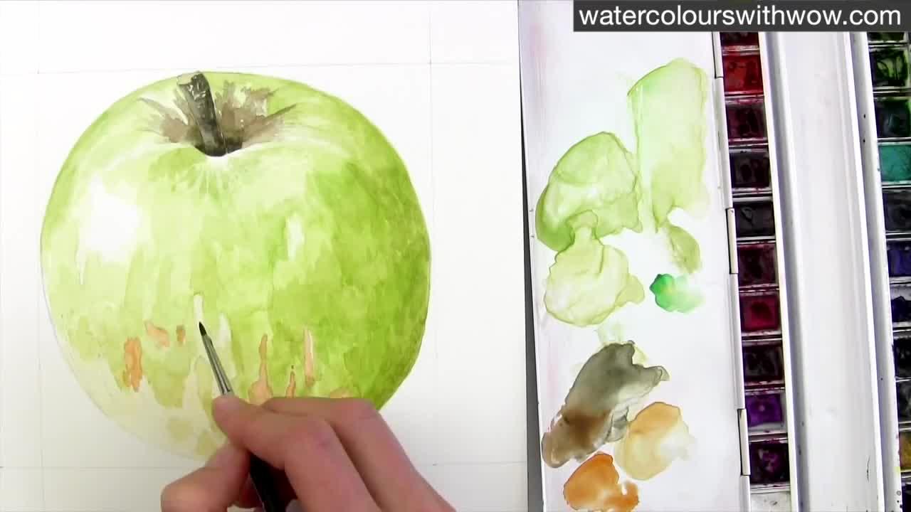 Как да нарисуваме ябълка с 3 D ефект използвайки акварел /урок от Anna Mason/