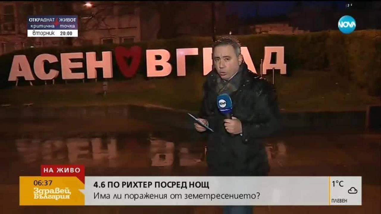 Земетресение с магнитуд 4,6 по Рихтер близо до Асеновград