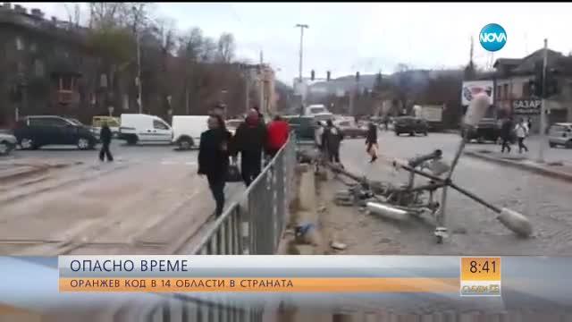 Вятърът отнесе клони и рекламни пана в София