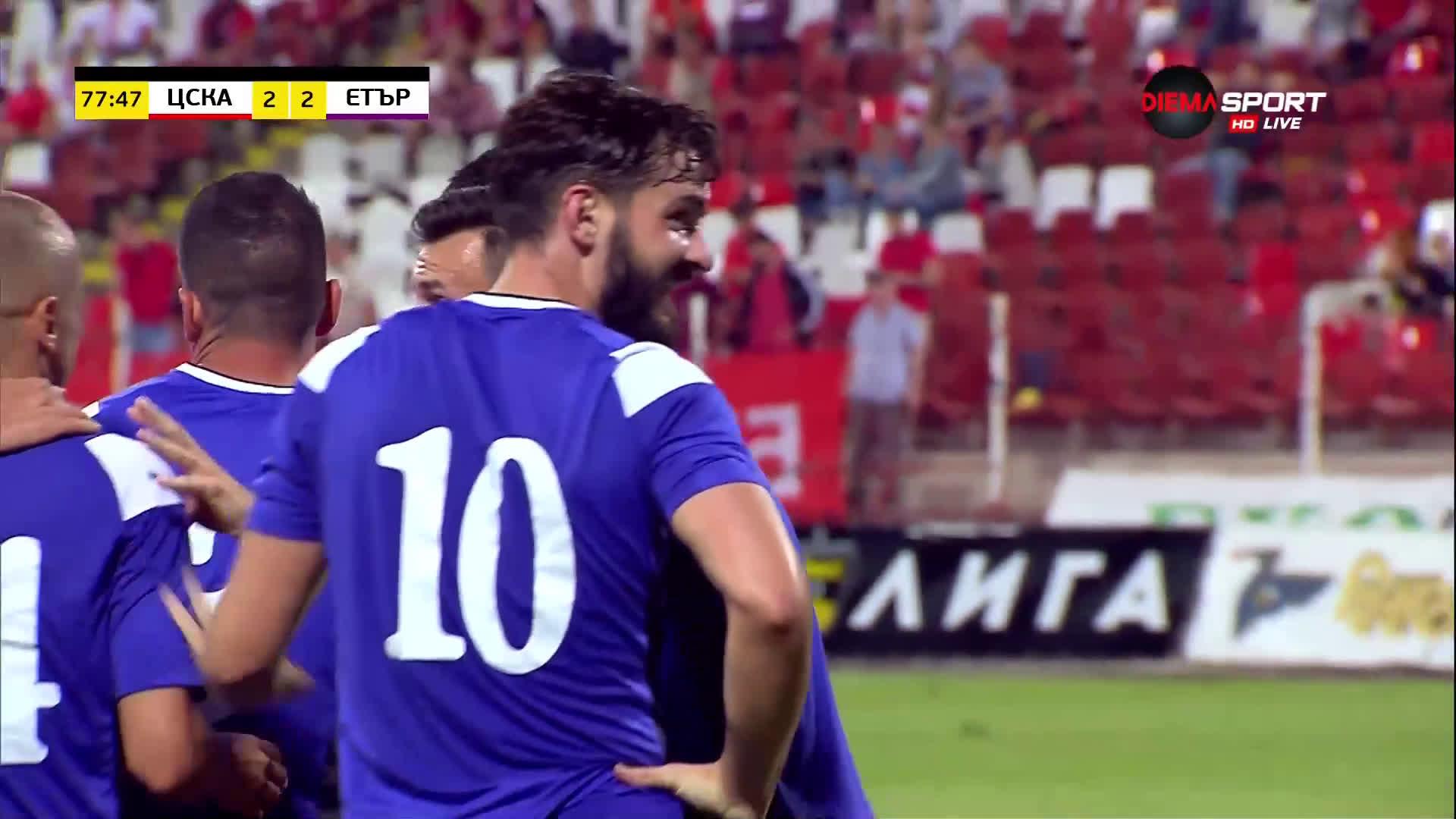 Етър отново попари ЦСКА с гол на Дани Младенов
