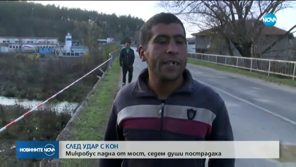 Микробус удари кон и падна от мост, седем души са пострадали
