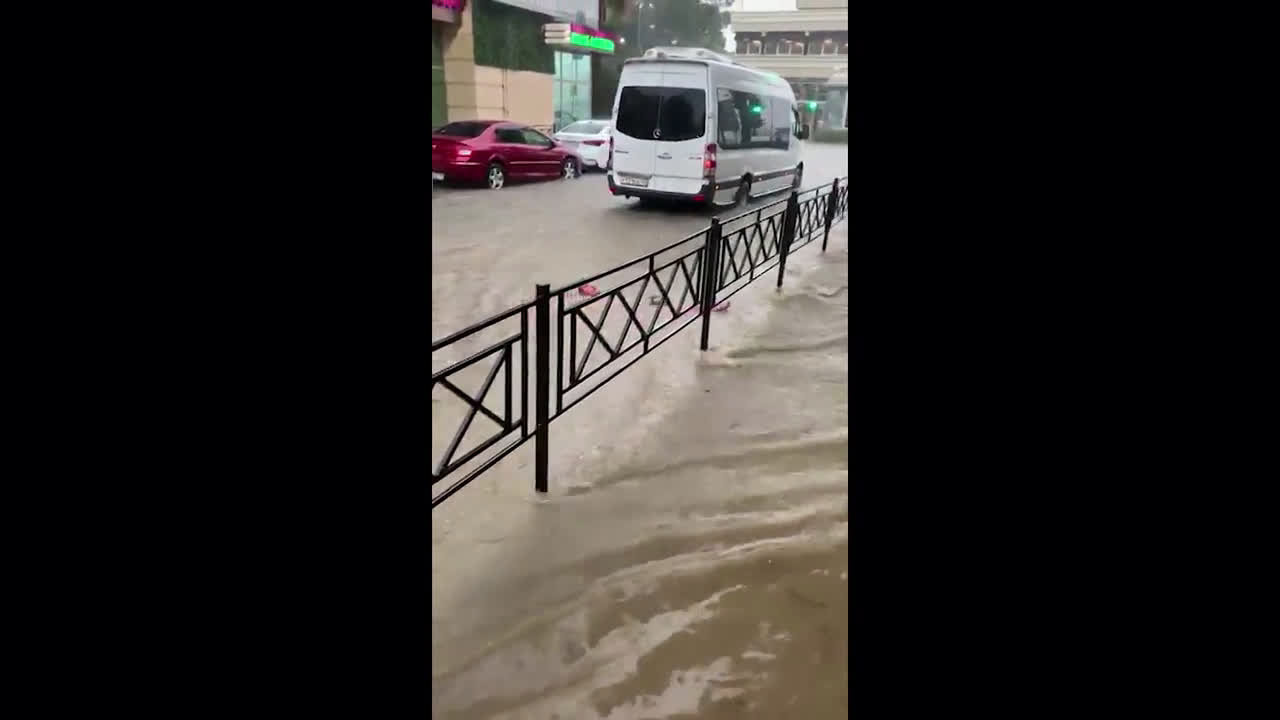 Russia: Afternoon swim in Sochi\'s streets after flash floods
